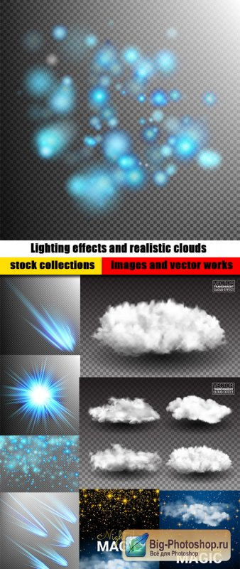Lighting effects and realistic clouds transparent background