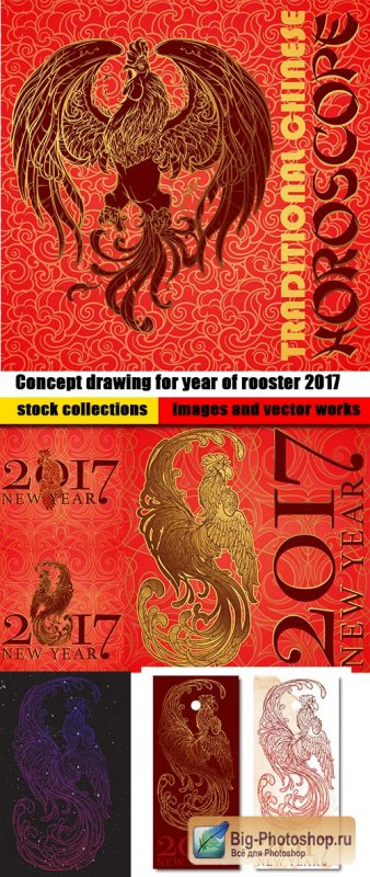 Concept drawing for year of rooster 2017