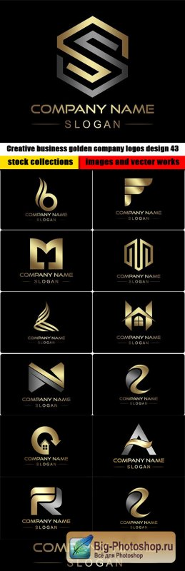 Creative business golden company logos design 43