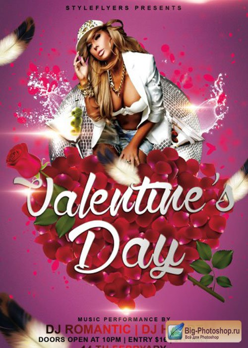 Valentine's day PSD V13 Flyer Template with Facebook Cover