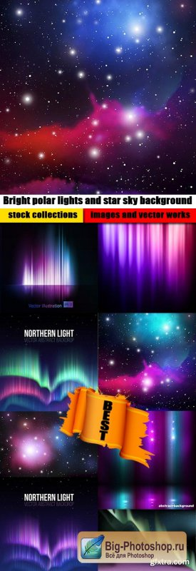 Bright polar lights and star sky background