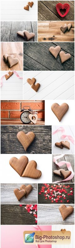 Wooden Heart & Love - Happy Valentines Day - Set of 20xUHQ JPEG Professional Stock Images
