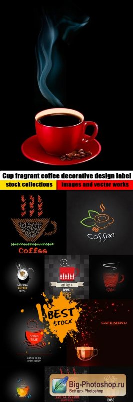 Cup fragrant coffee decorative design label