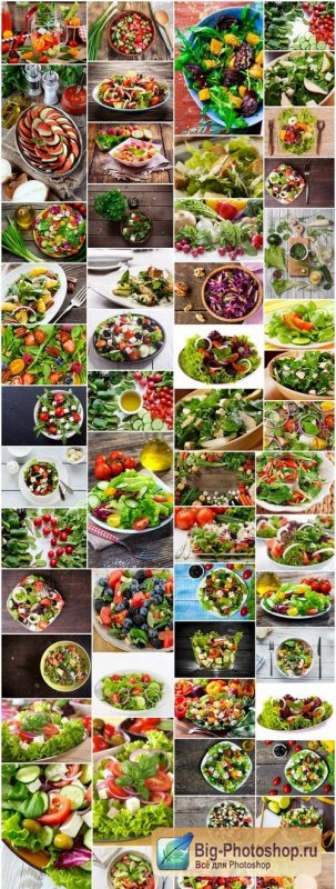 Healthy food - Fresh salad - Set of 54xUHQ JPEG Professional Stock Images