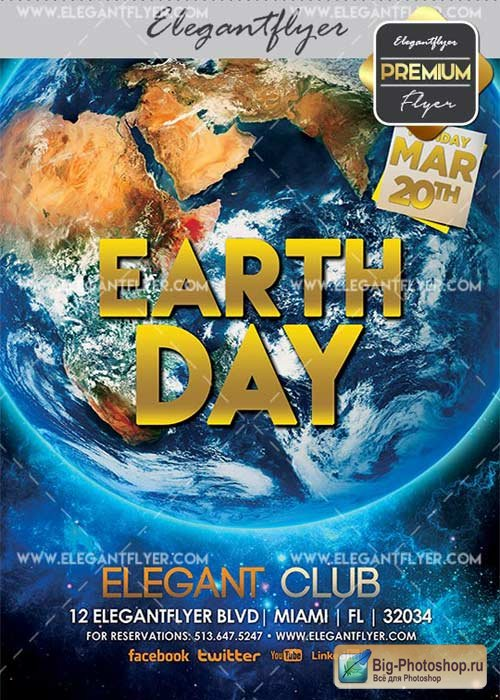 Earth Day V10 Flyer PSD Template + Facebook Cover