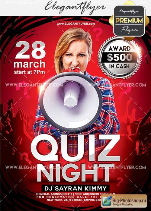 Quiz Night V7 Flyer PSD Template + Facebook Cover