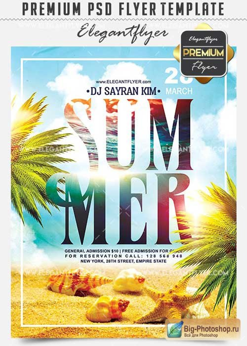 Summer Party V03 Flyer PSD Template + Facebook Cover