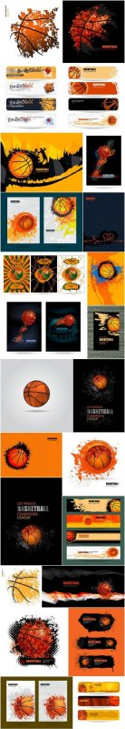 Basketbal posters, banners and elements of design - 26xEPS Professional Vector Stock