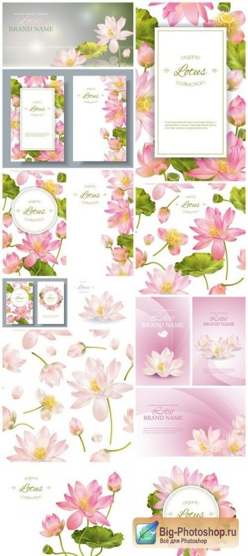 Vector banners with pink lotus flowers 14X EPS