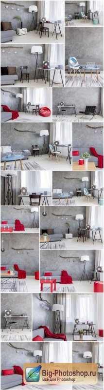 Ascetic home interior in grey - Grey flat interior with stylish furniture, 20xUHQ JPEG