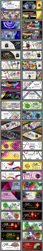 Collection of gift cards and vouchers 5 - Set of 26xEPS Professional Vector Stock