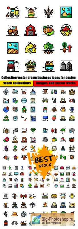 Collection vector drawn business icons for design