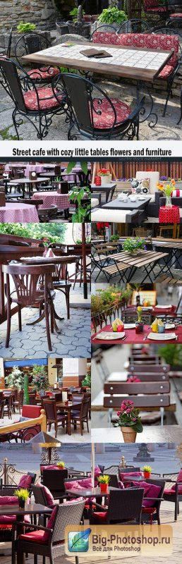 Street cafe with cozy little tables flowers and furniture