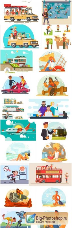 Creative Flat Illustration #8 - 20 Vector