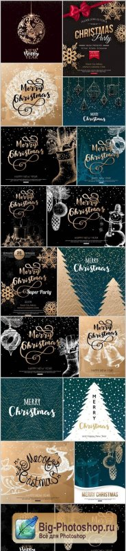New Year 2017 & Christmas Design 21 - 18xEPS Vector Stock