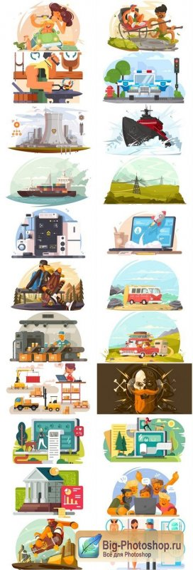 Creative Flat Illustration #6 - 25 Vector