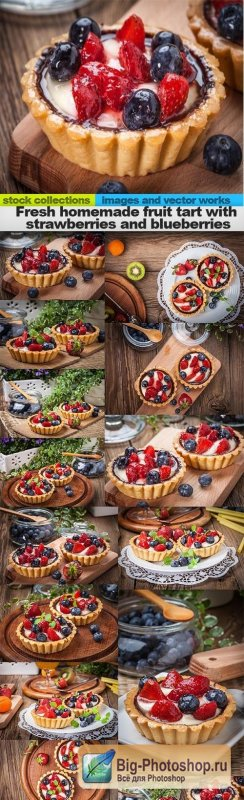 Fresh homemade fruit tart with strawberries and blueberries, 15 x UHQ JPEG