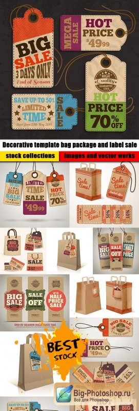 Decorative template bag package and label sale