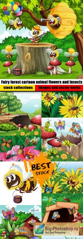 Fairy forest cartoon animal flowers and insects