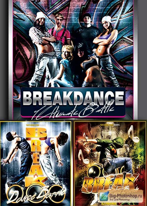 Break Dance Battle 3in1 V1 Flyer Template