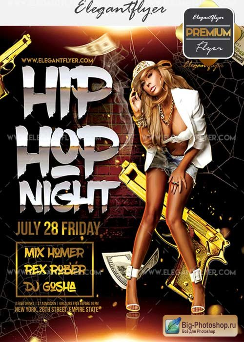 Hip Hop Night V15 Flyer PSD Template + Facebook Cover