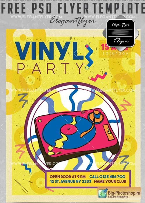 Vinyl Party V39 Flyer PSD Template + Facebook Cover