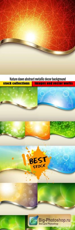 Nature dawn abstract metallic decor background