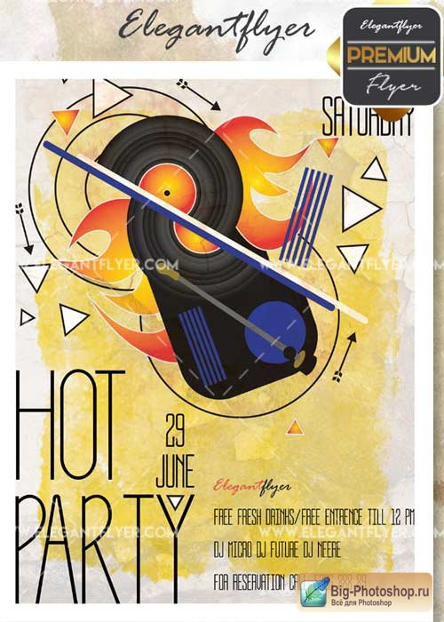 Hot Party V15 Flyer PSD Template + Facebook Cover