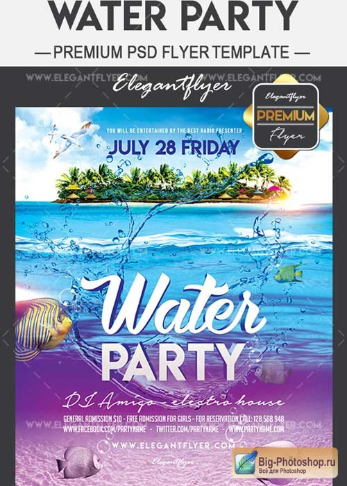 Water Party Flyer PSD V14 Template + Facebook Cover