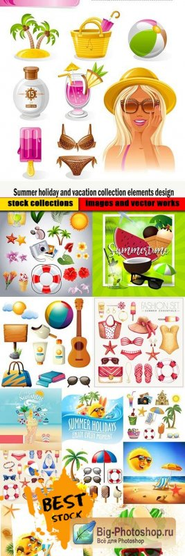 Summer holiday and vacation collection elements design