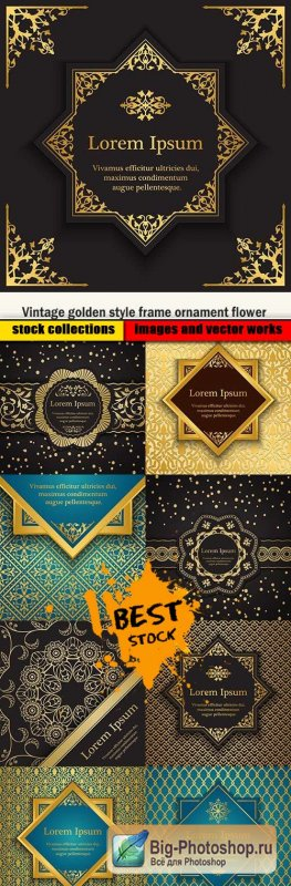 Vintage golden style frame ornament flower