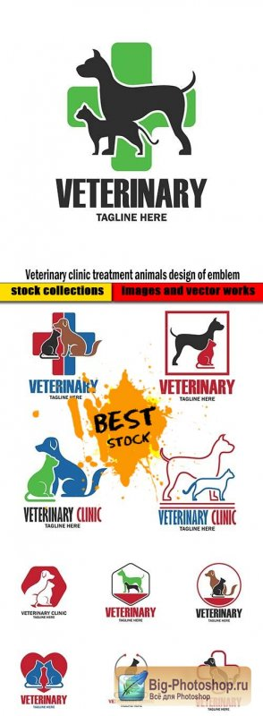 Veterinary clinic treatment animals design of emblem