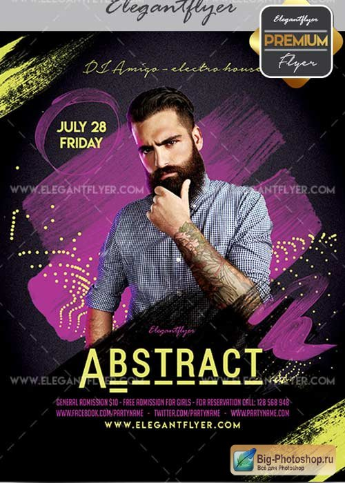 Abstract Party Flyer PSD V25 Template + Facebook Cover