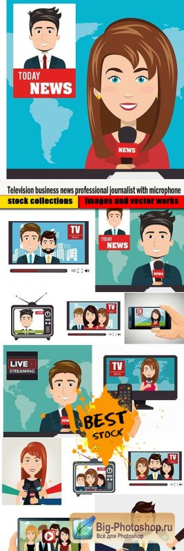 Television business news professional journalist with microphone