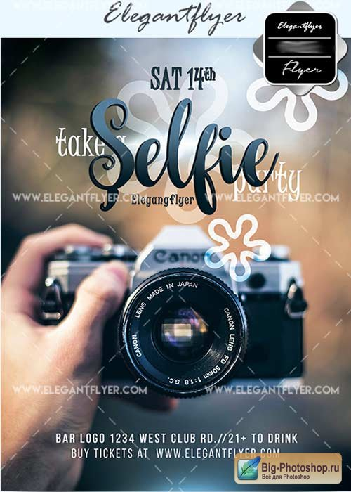 Selfie V3 Flyer PSD Template + Facebook Cover