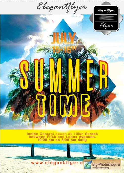 Summer Time V26 Flyer PSD Template + Facebook Cover