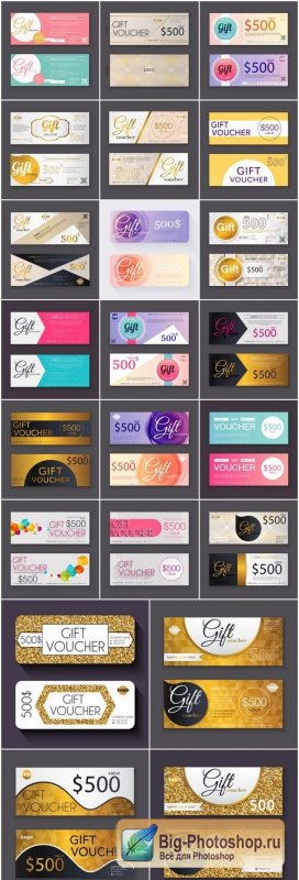 Collection of gift cards and vouchers - 22xEPS