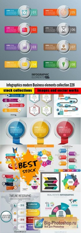 Infographics modern Business elements collection 228