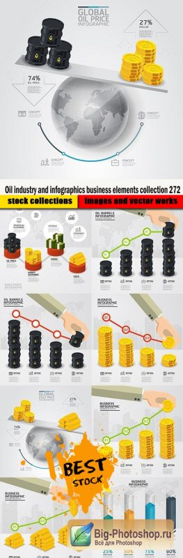 Oil industry and infographics business elements collection 272