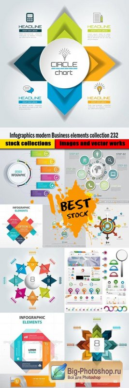 Infographics modern Business elements collection 232