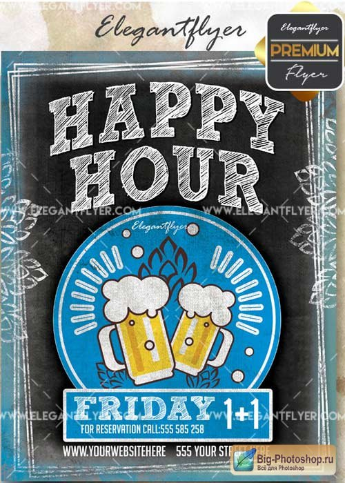 Happy Hour V47 Flyer PSD Template + Facebook Cover