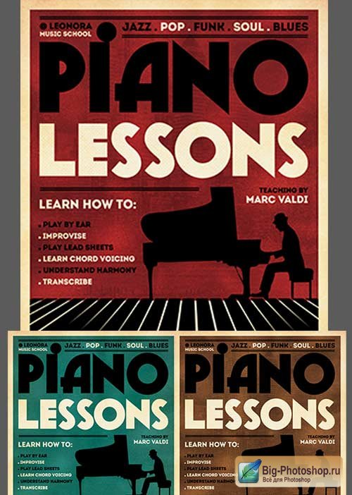Piano Lessons Flyer 3in1 V1 Flyer Template