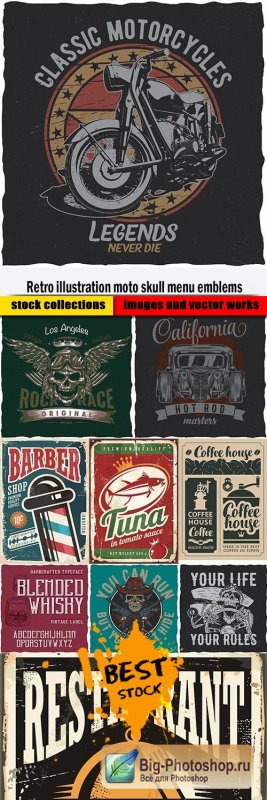 Retro illustration moto skull menu emblems