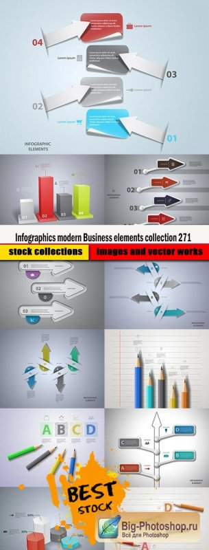 Infographics modern Business elements collection 271