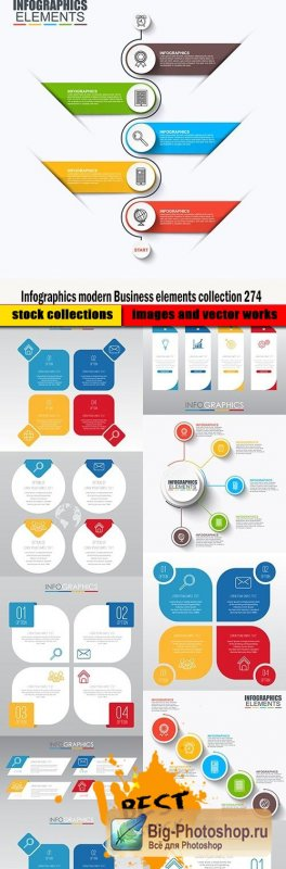 Infographics modern Business elements collection 274