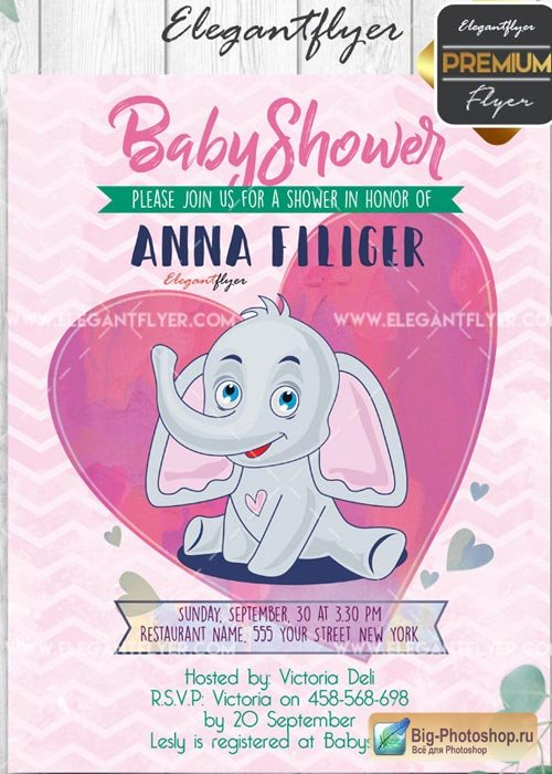 Baby Shower V7 Flyer PSD Template + Facebook Cover