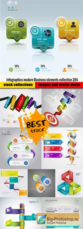 Infographics modern Business elements collection 284
