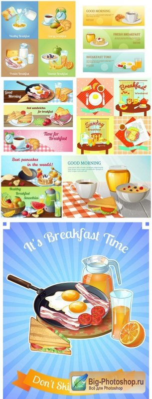 Colorful Breakfast Composition - 7 Vector