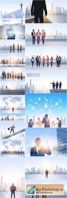 Business People Group Silhouettes - 20 Vector