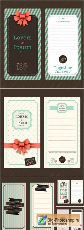 Wedding Modern Design Template - 5 Vector